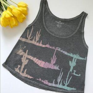 American Eagle Grey Flowy Cactus Print Swing Tank